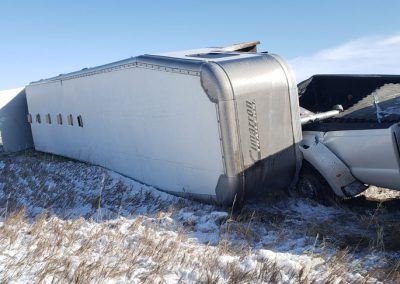 A view of the trailer from the front. You can see the portion of the roof that popped out at the rear of the trailer.